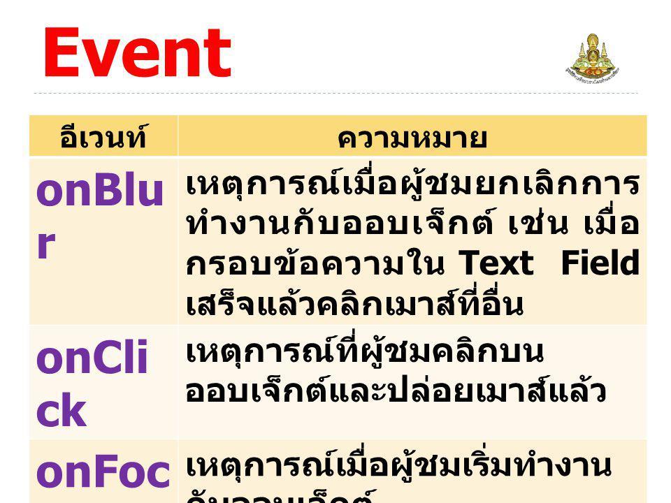 ความหมายของ Event onBlur onClick onFocus