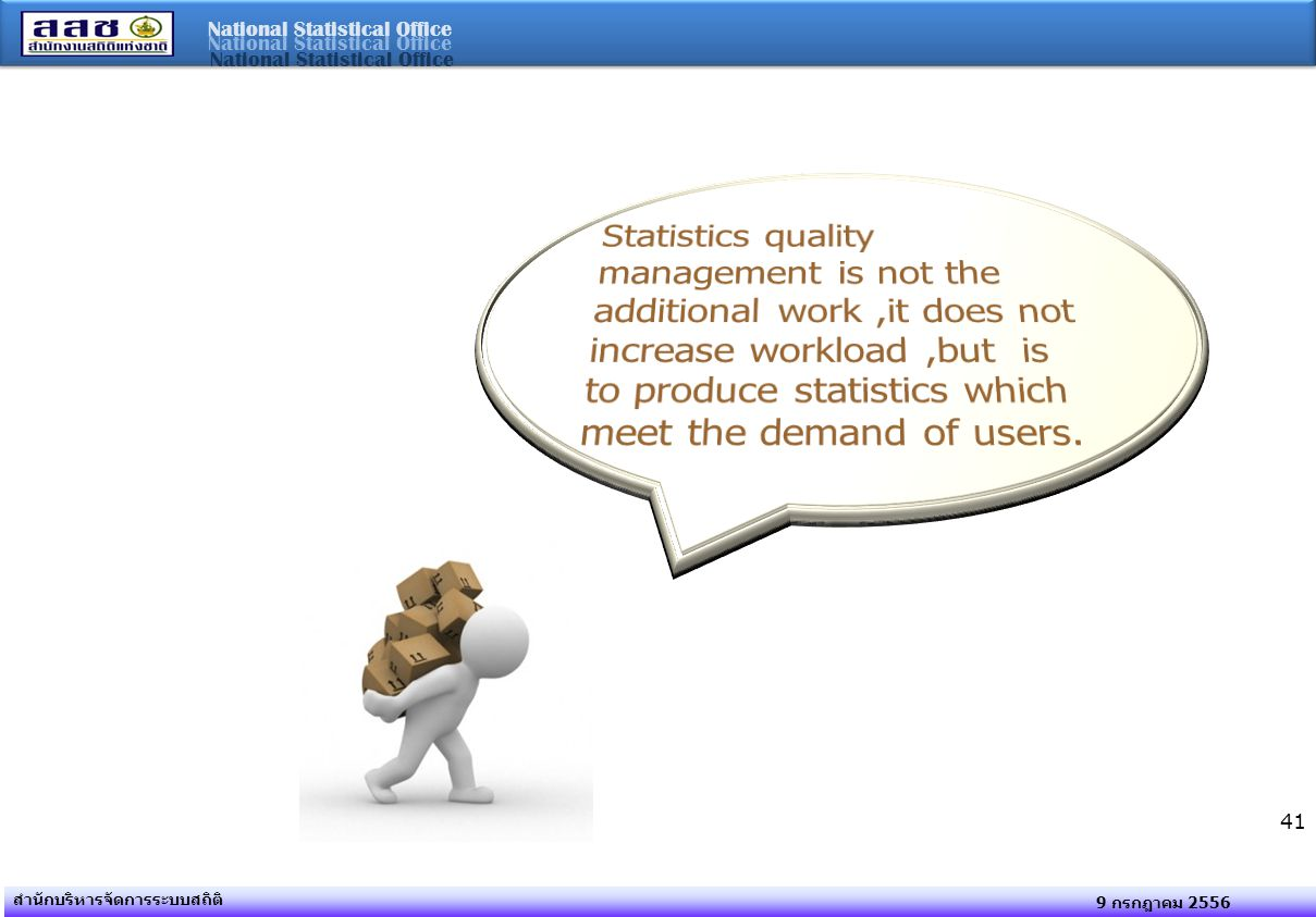 Statistics quality management is not the additional work ,it does not increase workload ,but is to produce statistics which meet the demand of users.