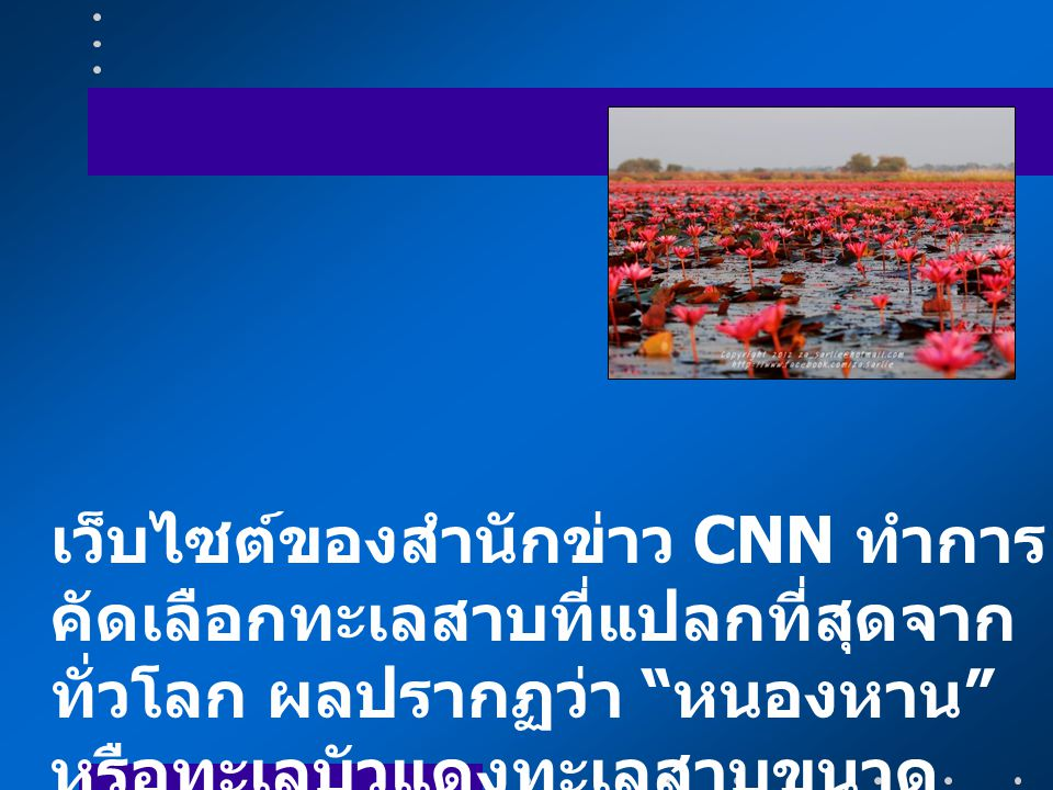 เว็บไซต์ของสำนักข่าว CNN ทำการคัดเลือกทะเลสาบที่แปลกที่สุดจากทั่วโลก ผลปรากฏว่า หนองหาน หรือทะเลบัวแดงทะเลสาบขนาดใหญ่ที่อยู่ใน อ.กุมภวาปี จ.อุดรธานี