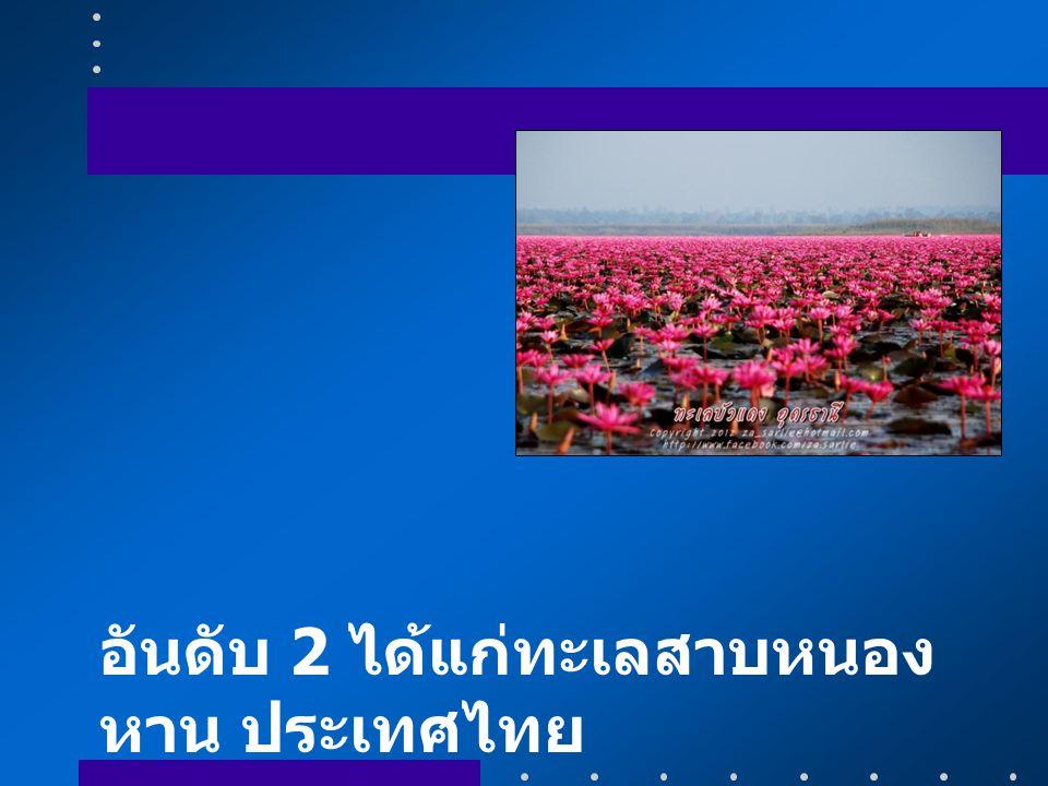 อันดับ 2 ได้แก่ทะเลสาบหนองหาน ประเทศไทย
