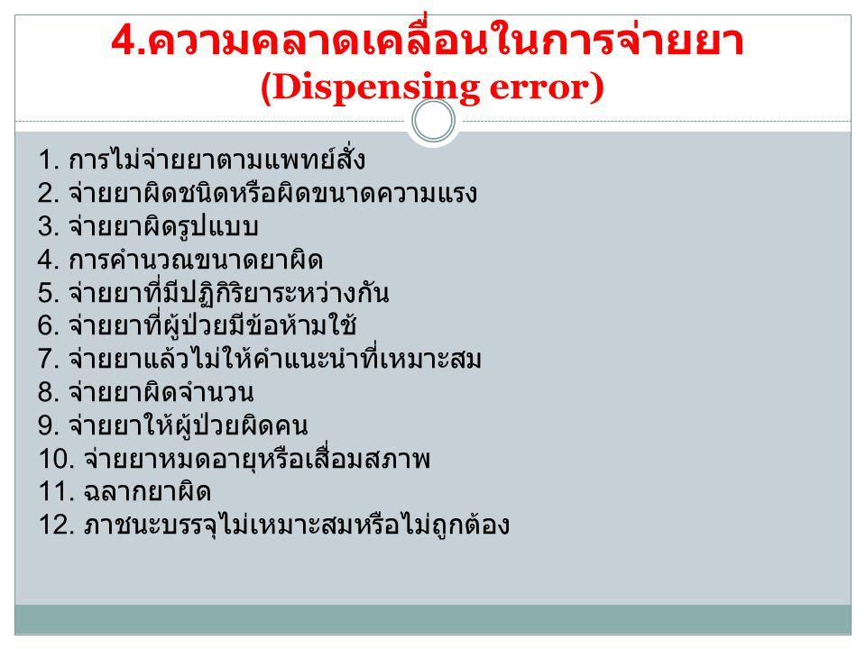 4.ความคลาดเคลื่อนในการจ่ายยา (Dispensing error)