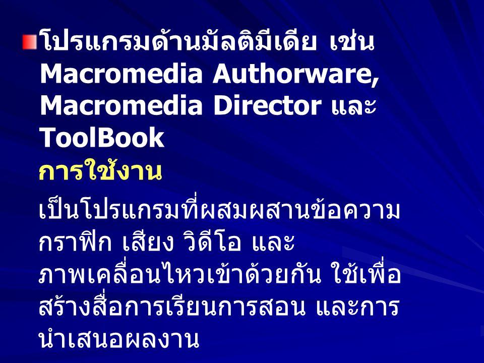 โปรแกรมด้านมัลติมีเดีย เช่น Macromedia Authorware, Macromedia Director และ ToolBook