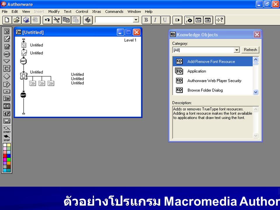 ตัวอย่างโปรแกรม Macromedia Authorware
