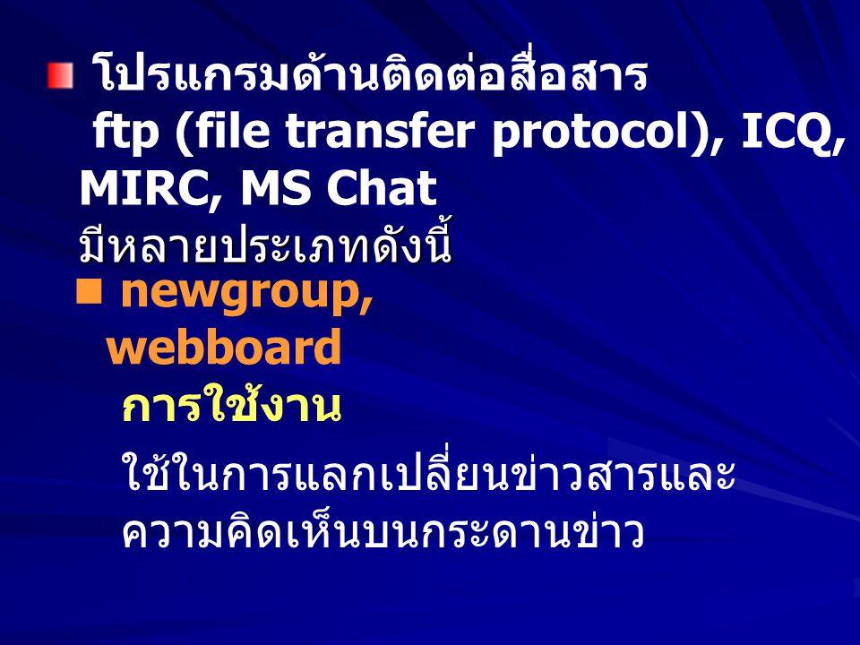 โปรแกรมด้านติดต่อสื่อสาร ftp (file transfer protocol), ICQ, MIRC, MS Chat มีหลายประเภทดังนี้