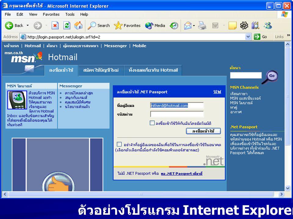 ตัวอย่างโปรแกรม Internet Explorer