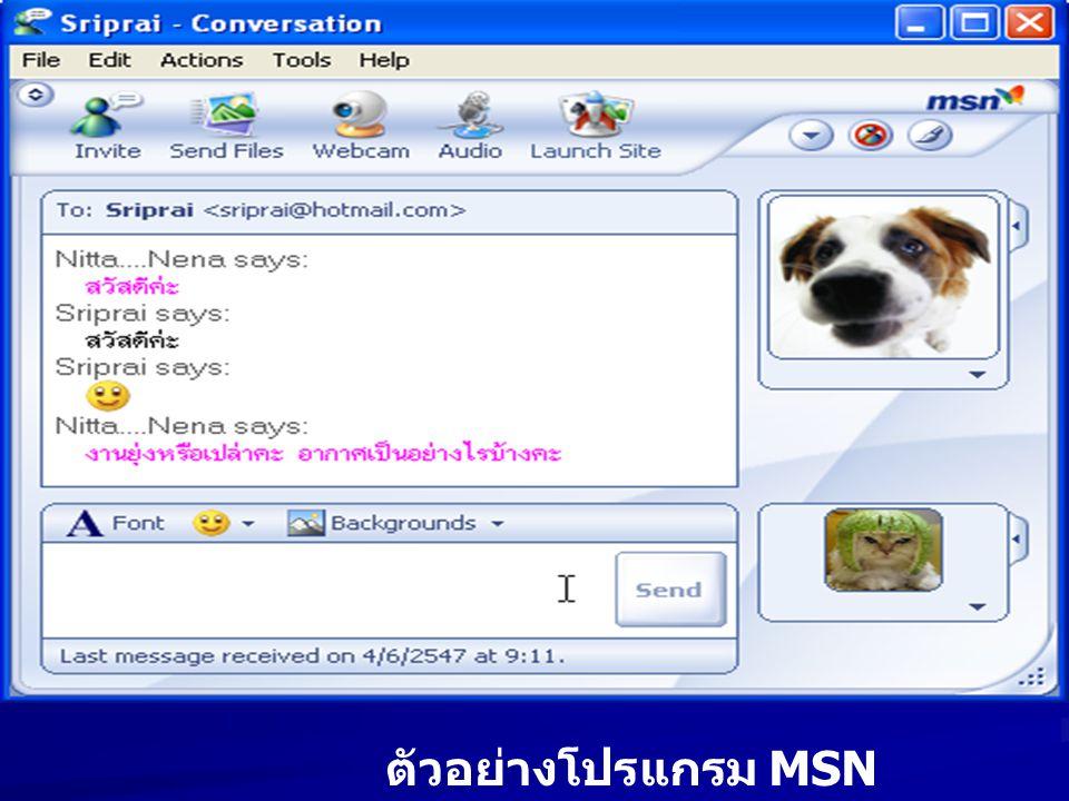 ตัวอย่างโปรแกรม MSN