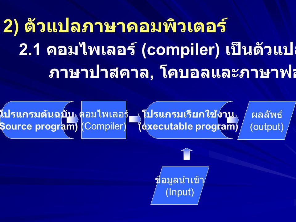 2) ตัวแปลภาษาคอมพิวเตอร์