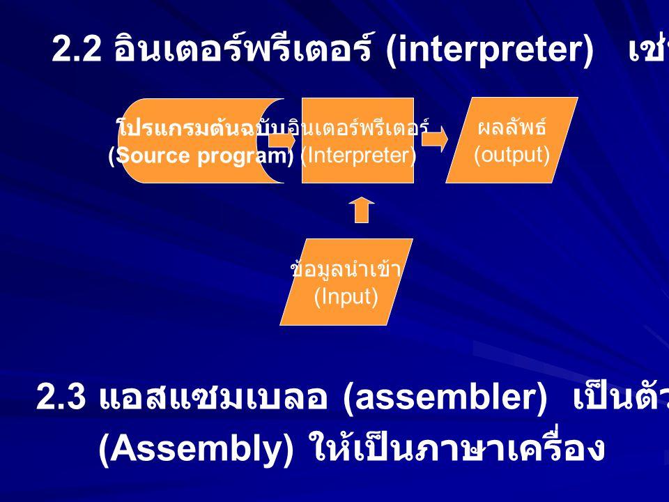 2.2 อินเตอร์พรีเตอร์ (interpreter) เช่น ภาษาเบสิก (BASIC)