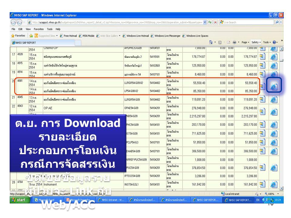 ต.ย. การ Download รายละเอียดประกอบการโอนเงิน