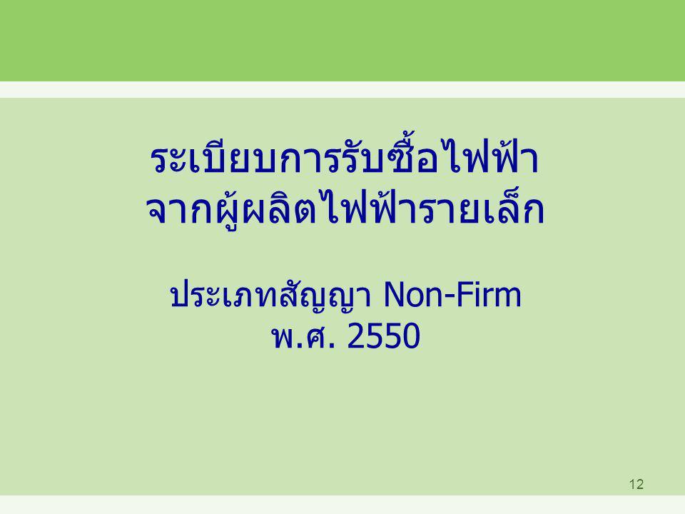 ระเบียบการรับซื้อไฟฟ้า จากผู้ผลิตไฟฟ้ารายเล็ก ประเภทสัญญา Non-Firm พ.ศ. 2550