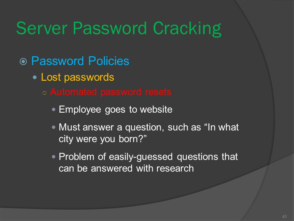 Server Password Cracking