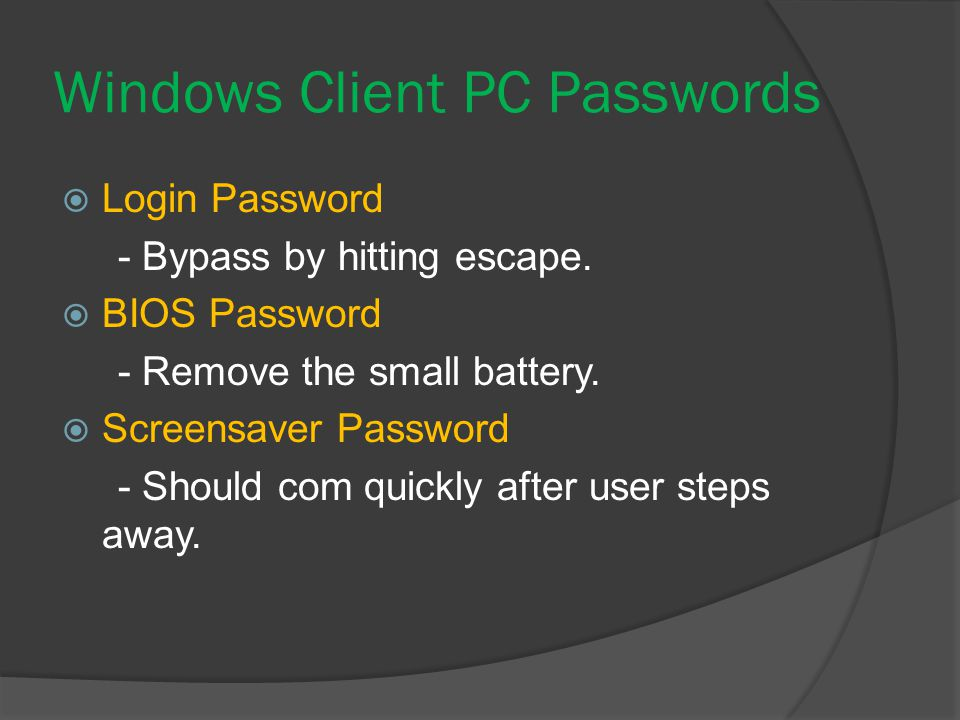 Windows Client PC Passwords