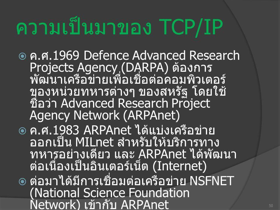 ความเป็นมาของ TCP/IP