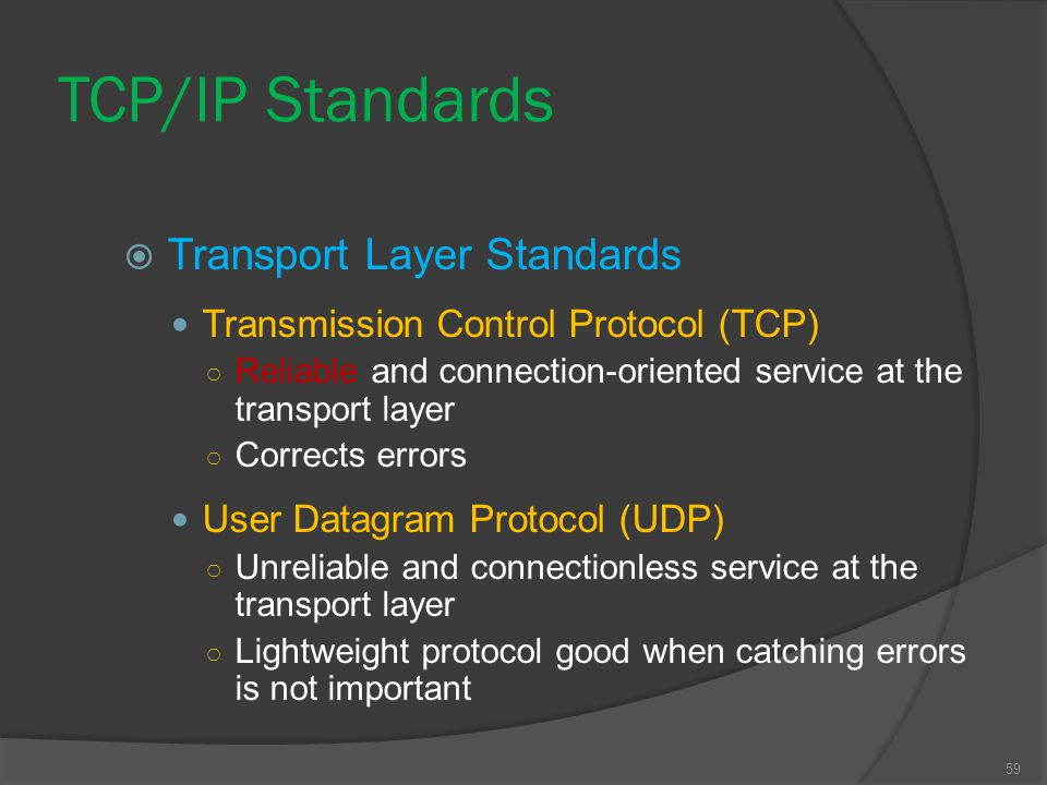 TCP/IP Standards Transport Layer Standards