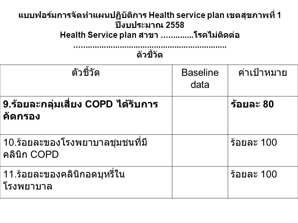 Health Service plan สาขา ..............โรคไม่ติดต่อ