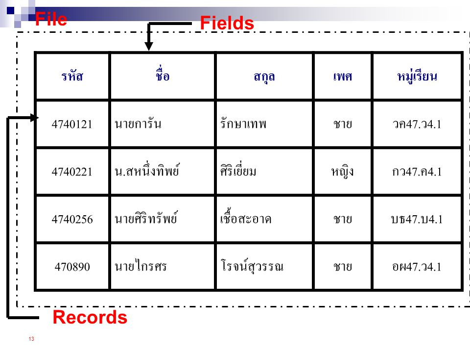 File Fields Records รหัส ชื่อ สกุล เพศ หมู่เรียน 4740121 นายการัน