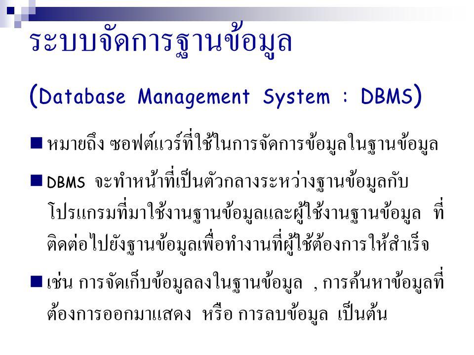 ระบบจัดการฐานข้อมูล (Database Management System : DBMS)