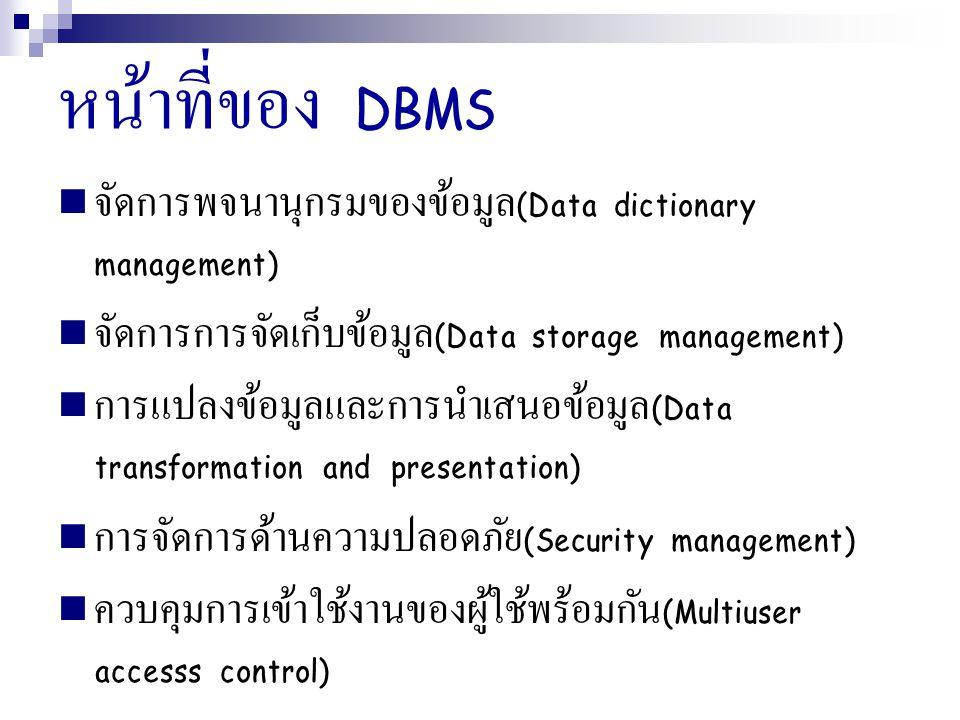 หน้าที่ของ DBMS จัดการพจนานุกรมของข้อมูล(Data dictionary management)