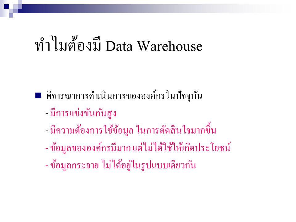 ทำไมต้องมี Data Warehouse