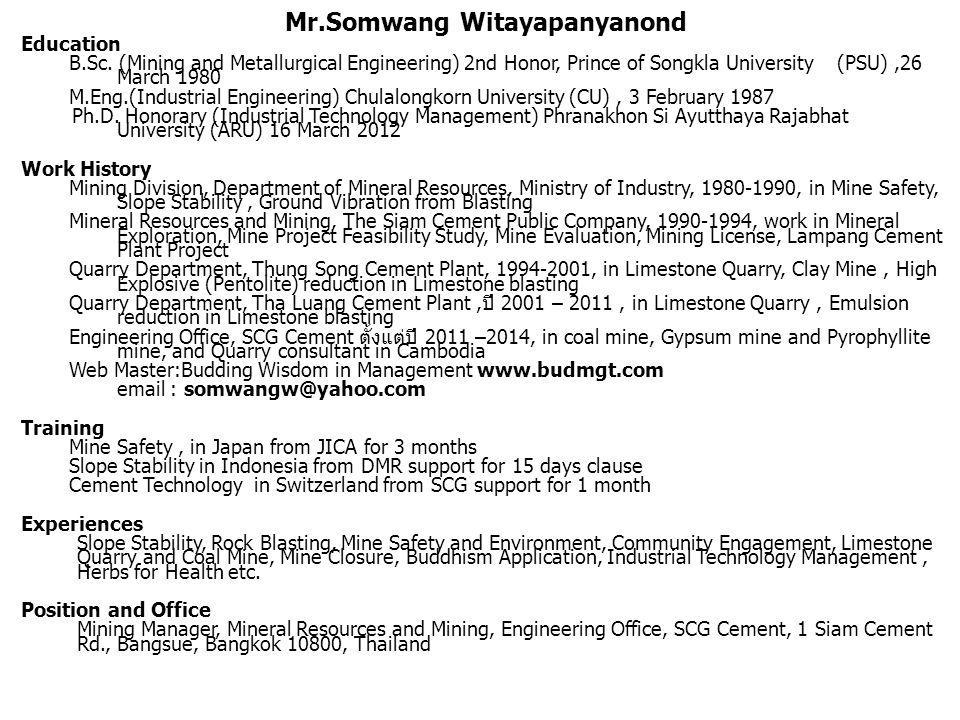 Mr.Somwang Witayapanyanond