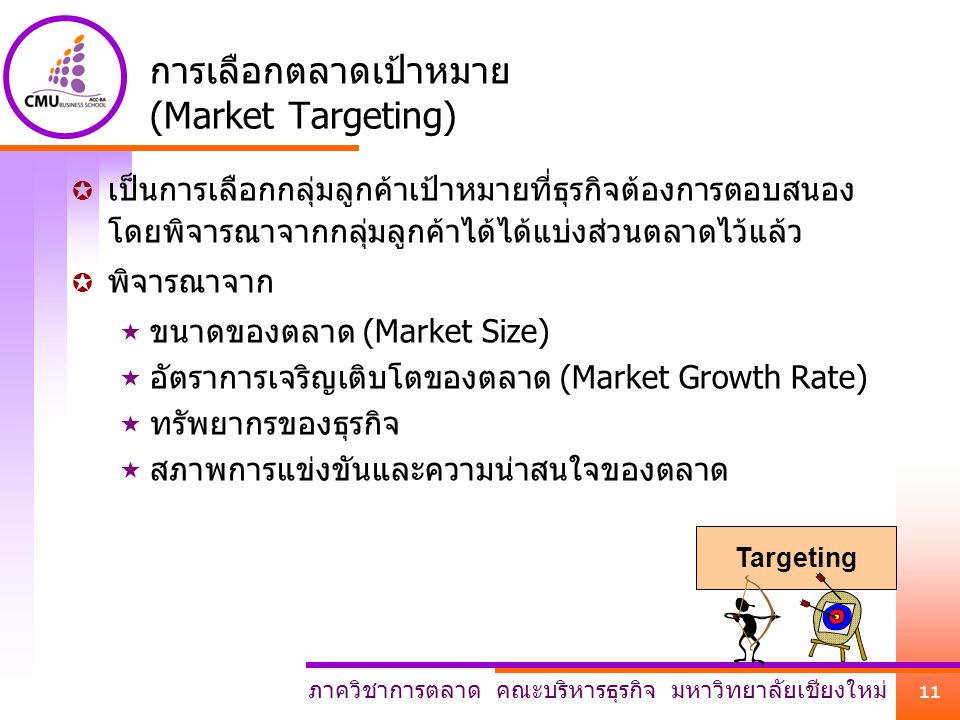 การเลือกตลาดเป้าหมาย (Market Targeting)