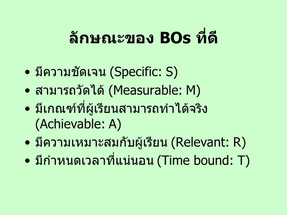ลักษณะของ BOs ที่ดี มีความชัดเจน (Specific: S)