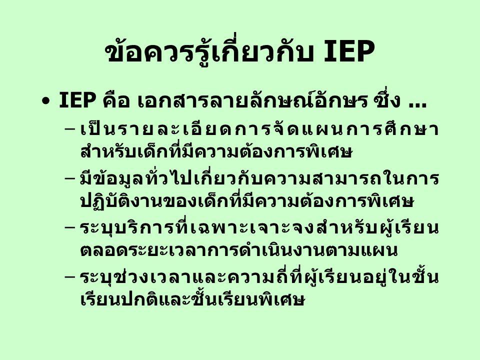 ข้อควรรู้เกี่ยวกับ IEP