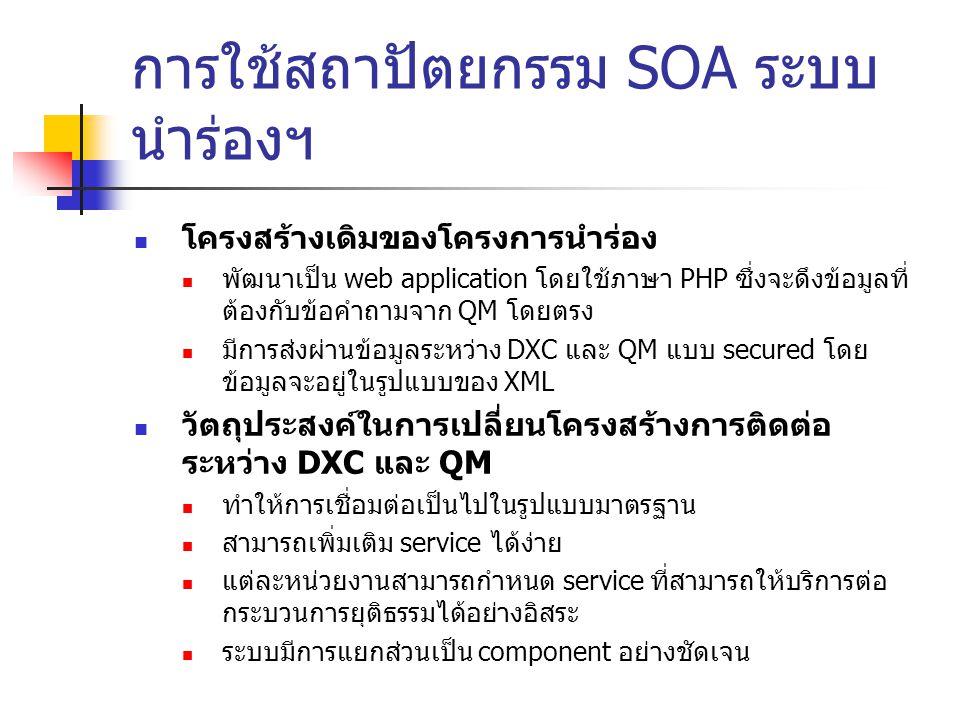 การใช้สถาปัตยกรรม SOA ระบบนำร่องฯ