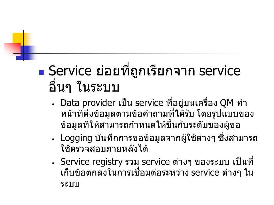Service ย่อยที่ถูกเรียกจาก service อื่นๆ ในระบบ