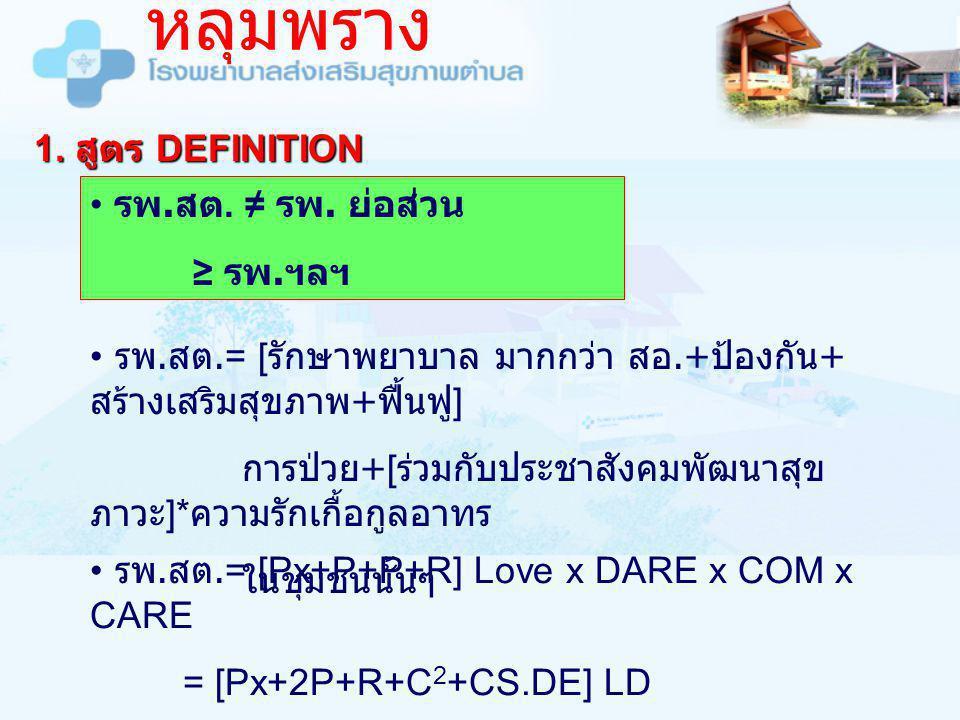 หลุมพราง 1. สูตร DEFINITION รพ.สต. ≠ รพ. ย่อส่วน ≥ รพ.ฯลฯ
