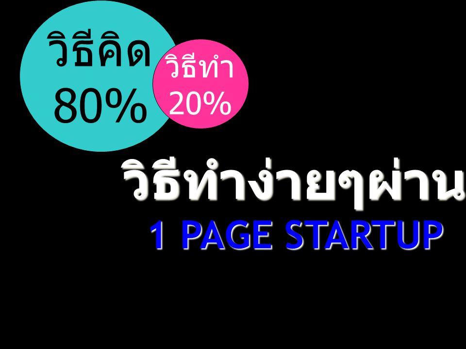 วิธีคิด 80% วิธีทำ 20% วิธีทำง่ายๆผ่าน 1 PAGE STARTUP