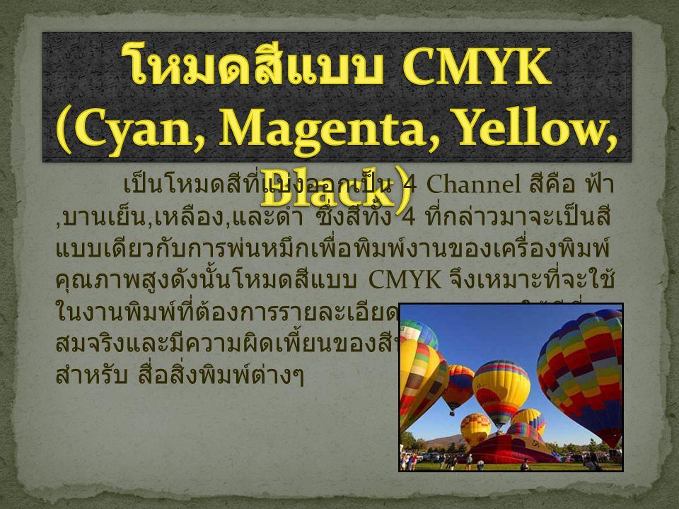 โหมดสีแบบ CMYK (Cyan, Magenta, Yellow, Black)