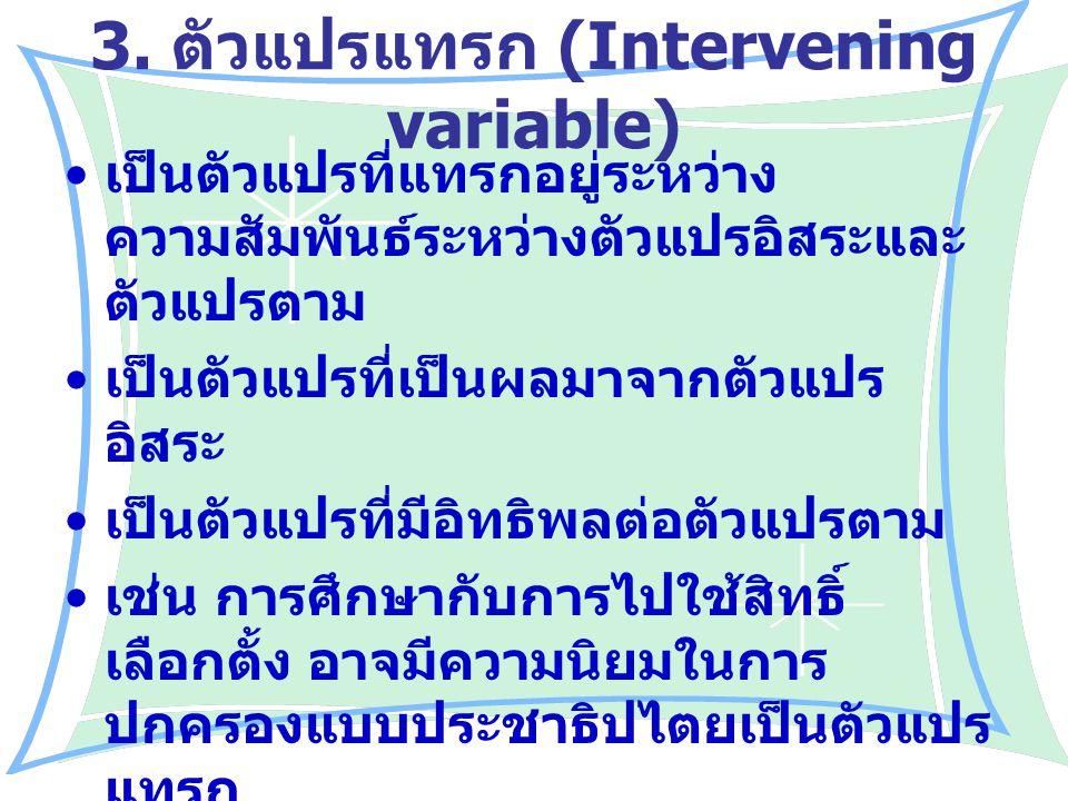 3. ตัวแปรแทรก (Intervening variable)