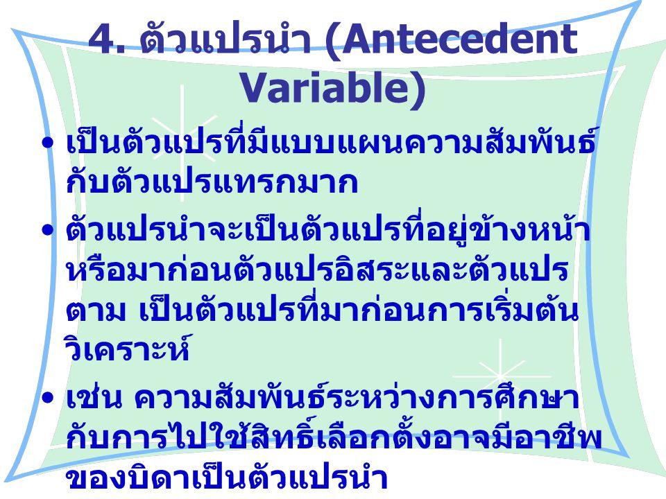 4. ตัวแปรนำ (Antecedent Variable)