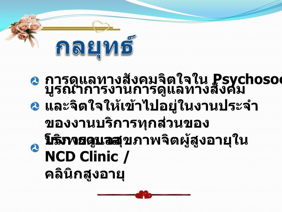 กลยุทธ์ การดูแลทางสังคมจิตใจใน Psychosocial Clinic