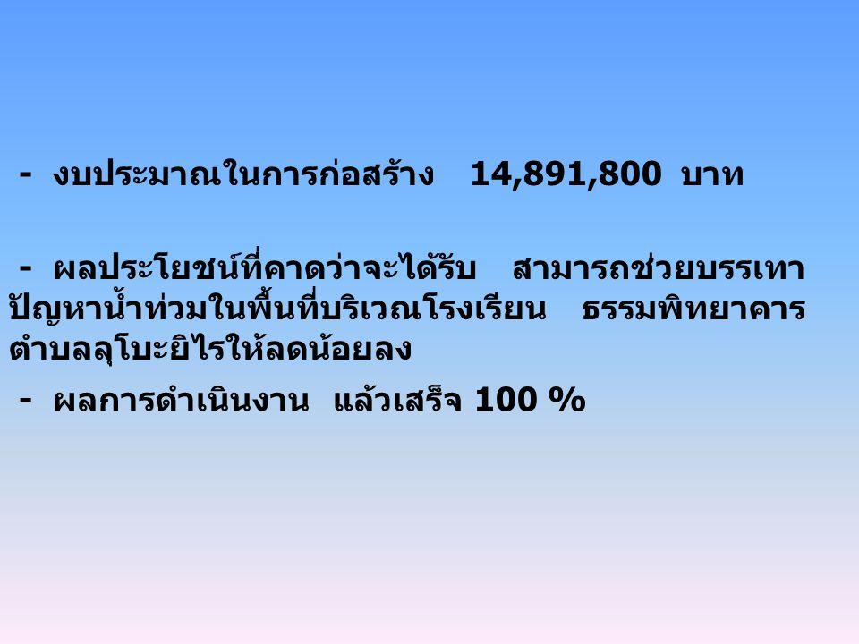 - งบประมาณในการก่อสร้าง 14,891,800 บาท