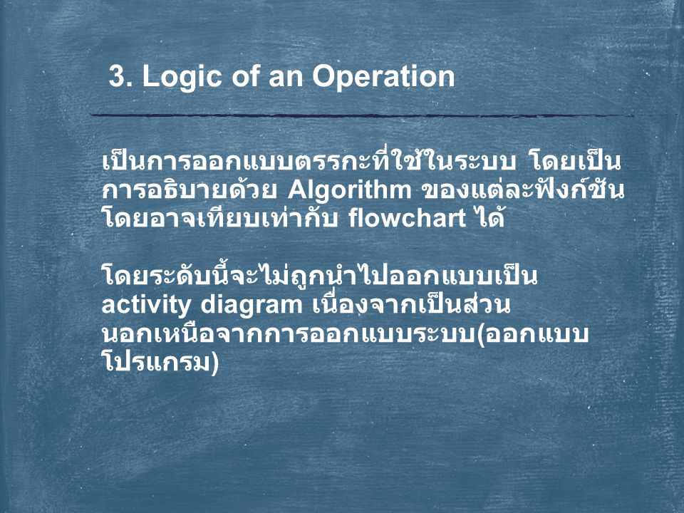 3. Logic of an Operation เป็นการออกแบบตรรกะที่ใช้ในระบบ โดยเป็นการอธิบายด้วย Algorithm ของแต่ละฟังก์ชัน โดยอาจเทียบเท่ากับ flowchart ได้