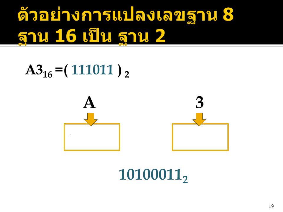 ตัวอย่างการแปลงเลขฐาน 8 ฐาน 16 เป็น ฐาน 2