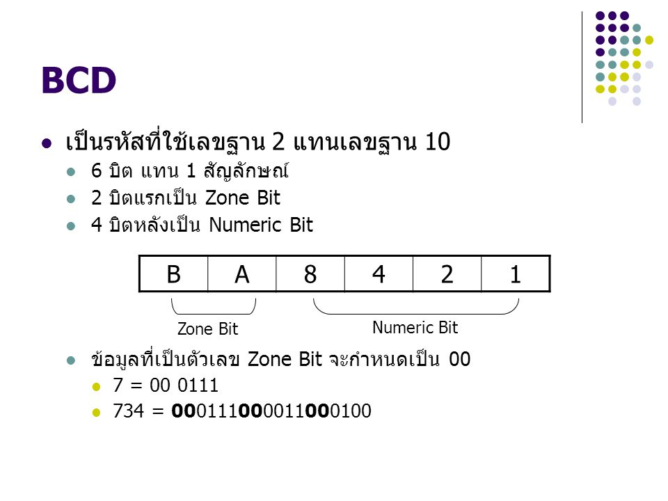 BCD เป็นรหัสที่ใช้เลขฐาน 2 แทนเลขฐาน 10 B A 8 4 2 1