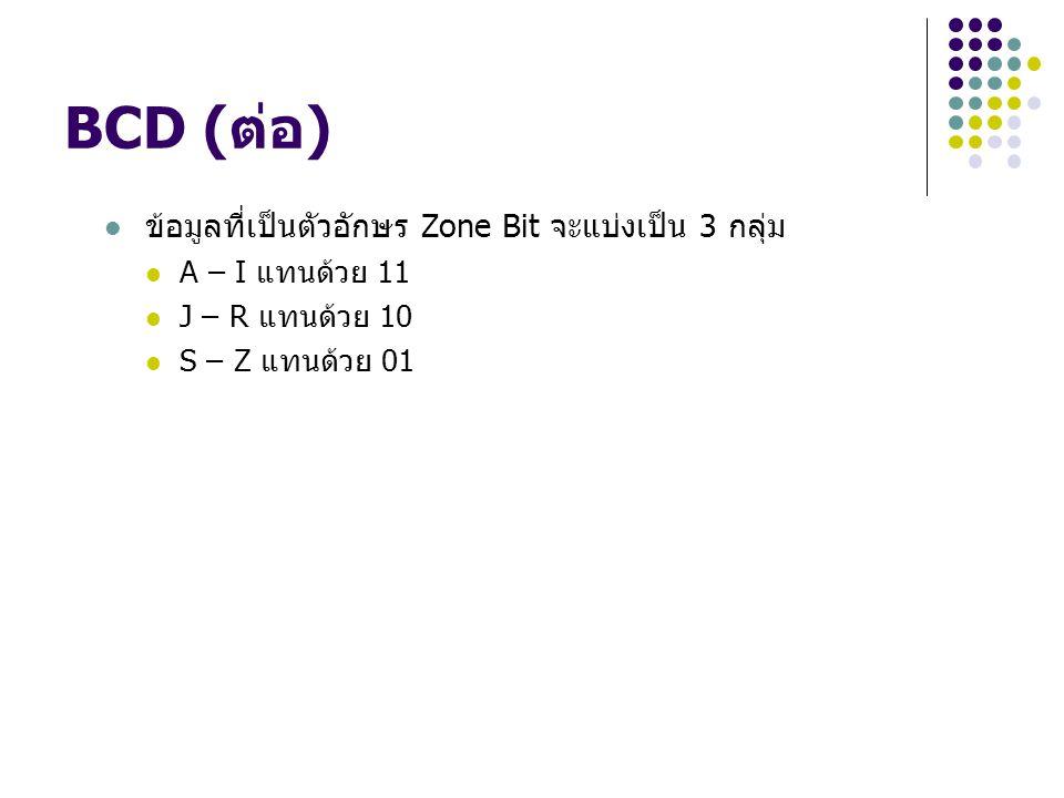 BCD (ต่อ) ข้อมูลที่เป็นตัวอักษร Zone Bit จะแบ่งเป็น 3 กลุ่ม