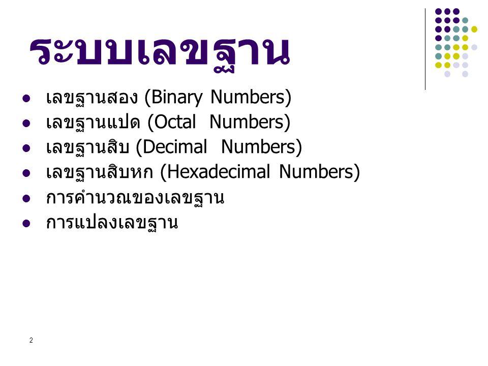 ระบบเลขฐาน เลขฐานสอง (Binary Numbers) เลขฐานแปด (Octal Numbers)