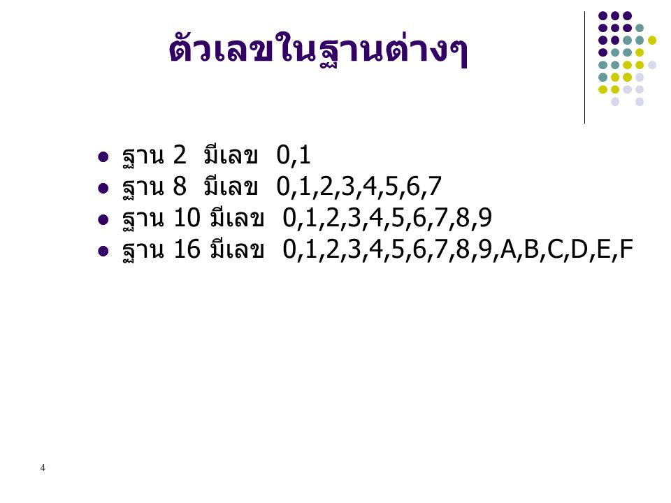 ตัวเลขในฐานต่างๆ ฐาน 2 มีเลข 0,1 ฐาน 8 มีเลข 0,1,2,3,4,5,6,7