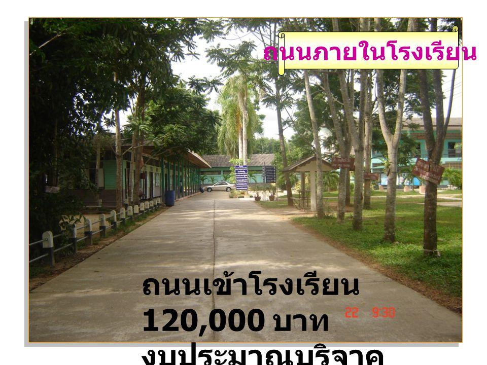 ถนนเข้าโรงเรียน 120,000 บาท งบประมาณบริจาค