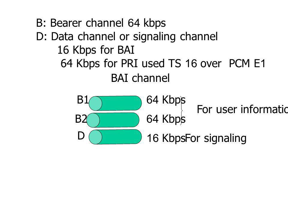 B: Bearer channel 64 kbps D: Data channel or signaling channel. 16 Kbps for BAI. 64 Kbps for PRI used TS 16 over PCM E1.