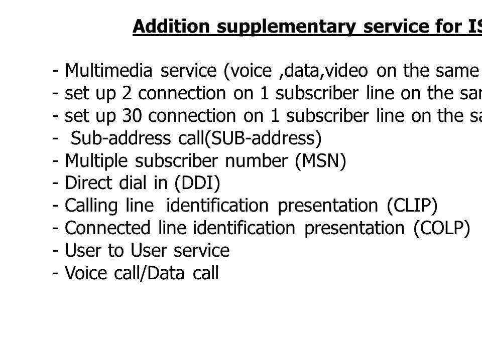 Addition supplementary service for ISDN