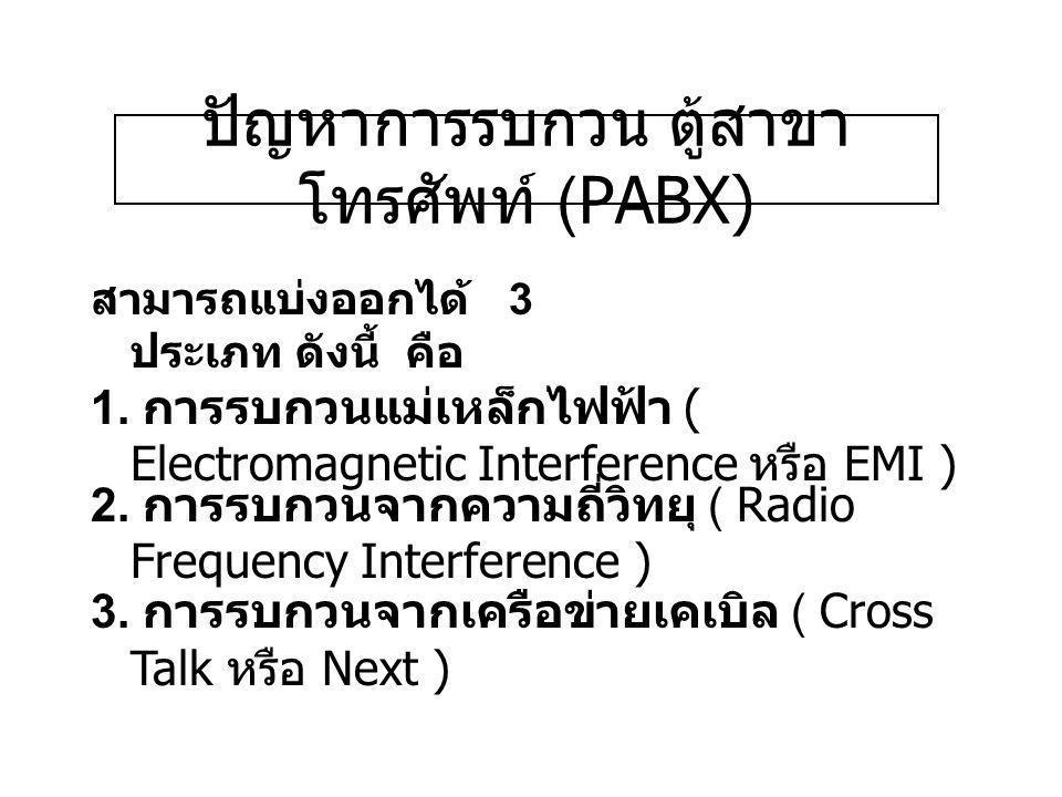 ปัญหาการรบกวน ตู้สาขาโทรศัพท์ (PABX)