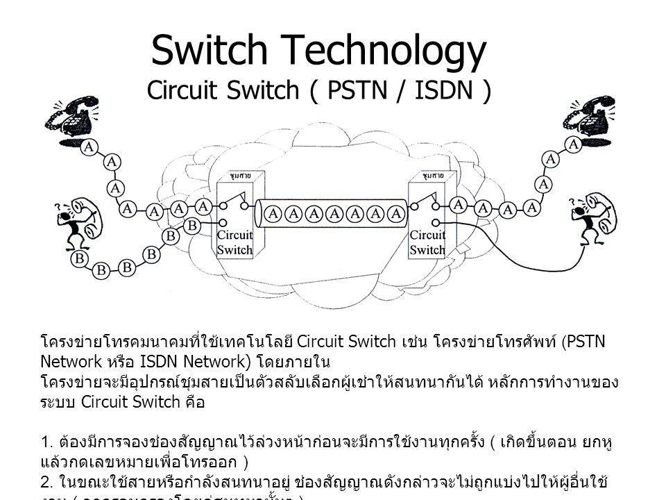 Switch Technology Circuit Switch ( PSTN / ISDN )