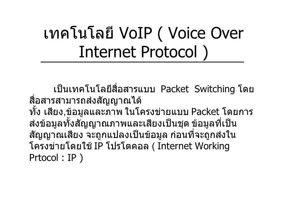 เทคโนโลยี VoIP ( Voice Over Internet Protocol )