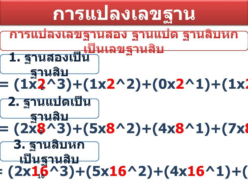 การแปลงเลขฐาน 1101 = (1x2^3)+(1x2^2)+(0x2^1)+(1x2^0)