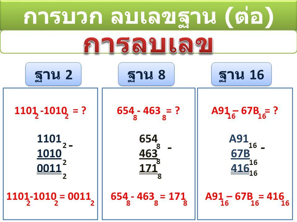 การลบเลข การบวก ลบเลขฐาน (ต่อ) ฐาน 2 ฐาน 8 ฐาน 16 - - - 1101 1010 0011